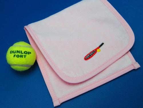 ポケット付きタオルポーチ(テニスラケット柄)