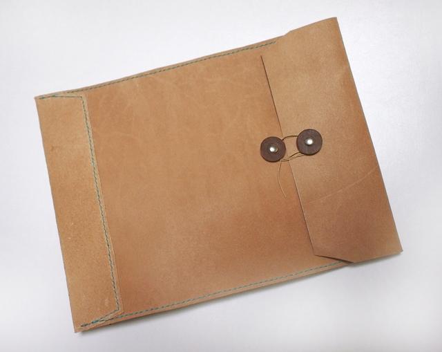 トスカーナ床革のマニラ封筒 A4ファイル対応 水色糸A
