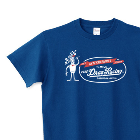 ドラッグ?レース☆1/4マイル☆アメリカンレトロ A柄 片面  150.160.(女性M.L) S〜XL Tシャツ【受注生産品】