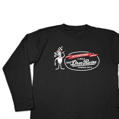 ドラッグ?レース☆1/4マイル☆アメリカンレトロ A柄 片面 長袖Tシャツ【受注生産品】