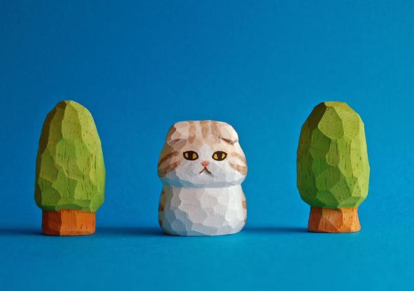 木彫り人形 スコティッシュフォールド 薄茶×白  [MWF-097]