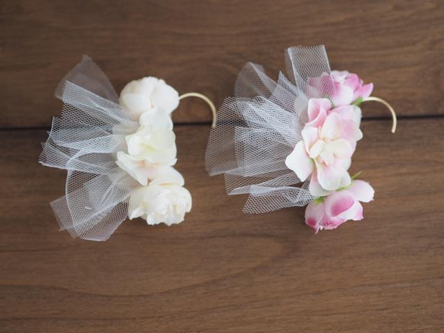 チュールがかわいいお花のイヤーフック◇全2色