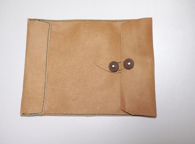 トスカーナ床革のマニラ封筒 A4ファイル対応 水色糸B
