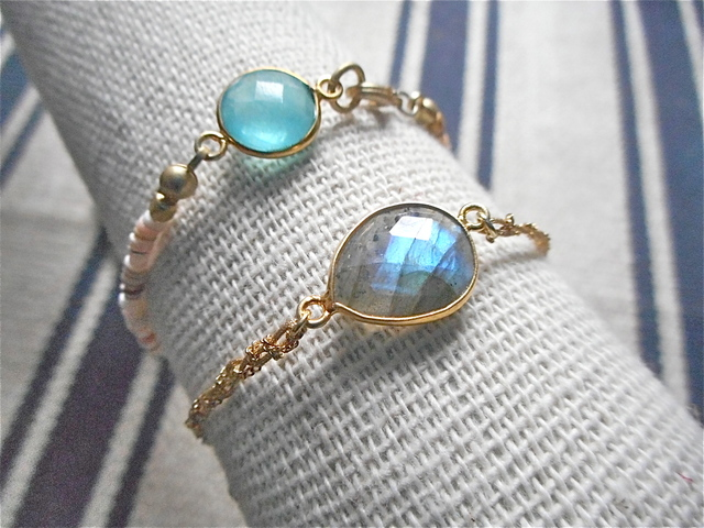 Framed Gemstone Bracelet--ラブラドライト
