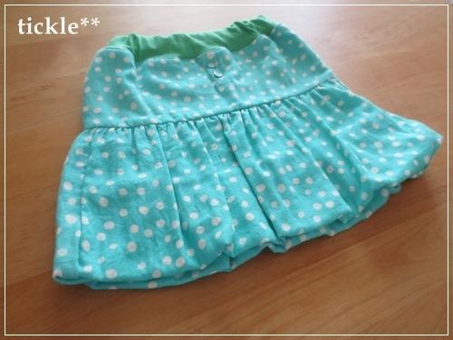 ラムネランダムドット Wガーゼのバルーンスカート 100