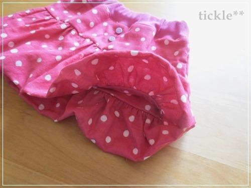 チェリーピンク*ランダムドットのバルーンスカート90サイズ