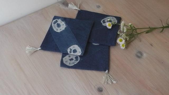 藍染のコースター(阿波本藍染)4枚組