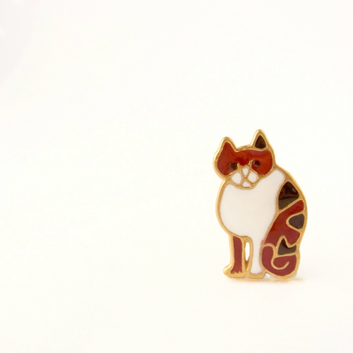 猫ブローチ(まめ)