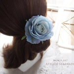 Floral hairtie-アンティークローズの淑やか髪飾り-Heavenly Blue