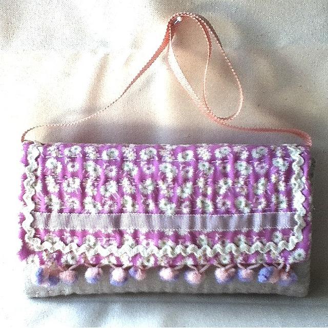 手縫い100%NUNO長財布?ピンク花柄