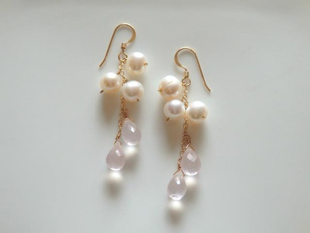 K14gf��Bubble Jewel��rose quartz