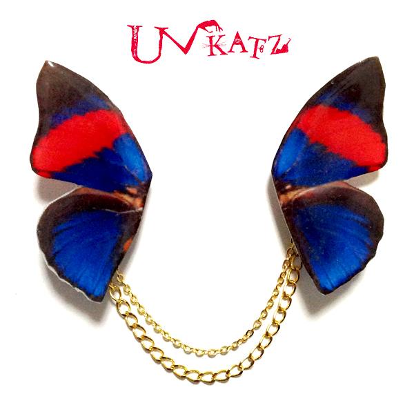 NO.467-2 蝶の羽根ネックブローチ(レッド×ブルー)