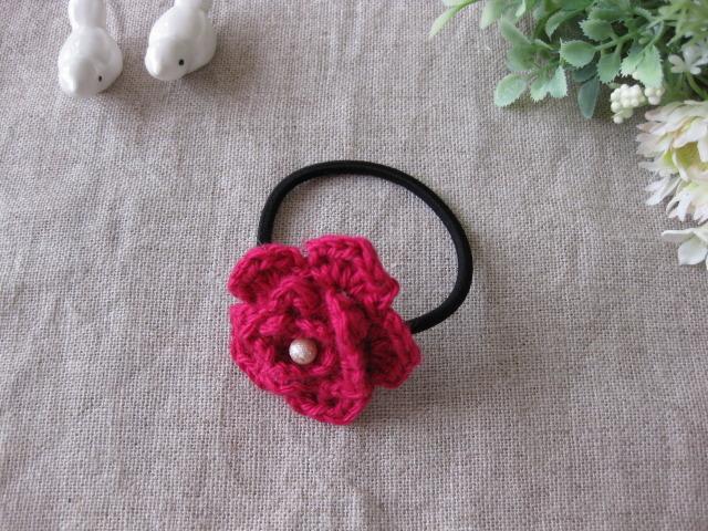 リネンで編んだピンクのお花のヘアーゴム