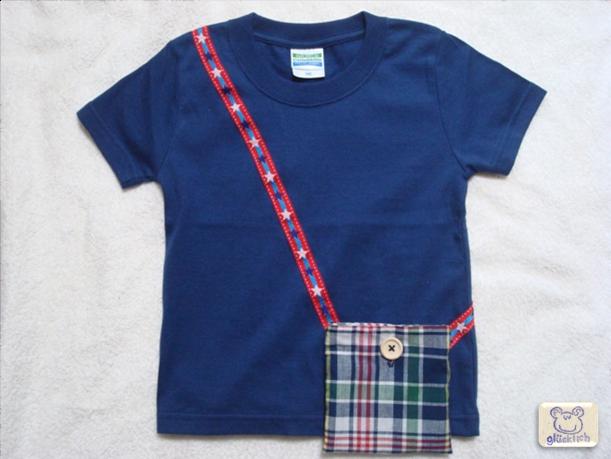 ポケット付きTシャツ/100サイズ/インディゴブルー