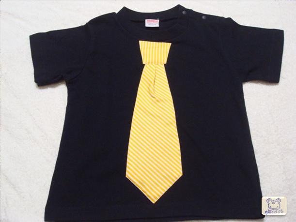 ネクタイTシャツ/90サイズ/黒×イエロー