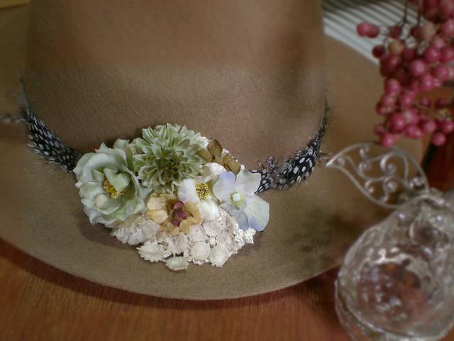 花のヘアクリップ(オリーブ)