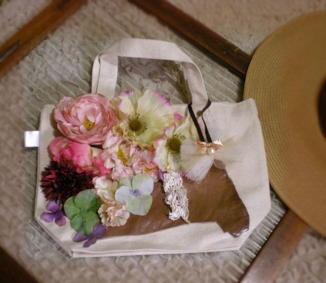 花のミニトートバッグ(紅)
