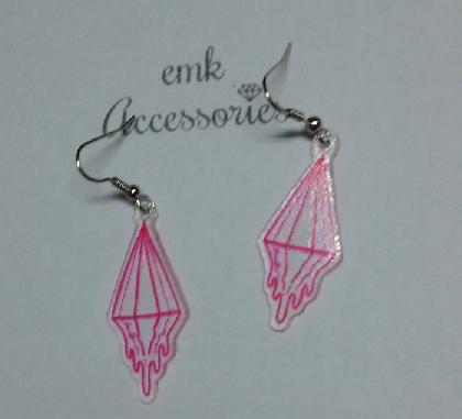 【PC0006】でろでろロングダイヤピアス(ピンク)
