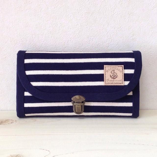 ニットボーダーの長財布(ネイビー・コインパース1つ)