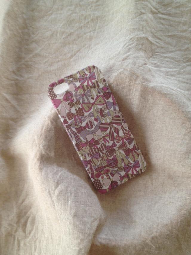 リバティ布張り iphone4/4sケース ジェイニーズリボン