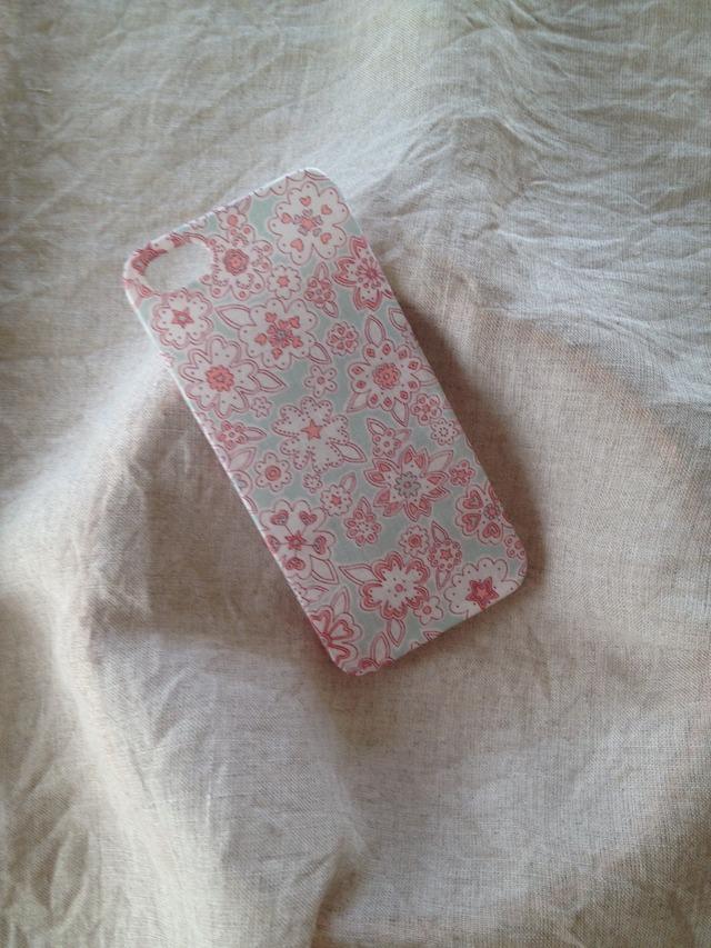 リバティ iphoneケース iphone5/5s (水色 花)