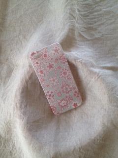 リバティ iphoneケース iphone4/4s (薄水色 花)