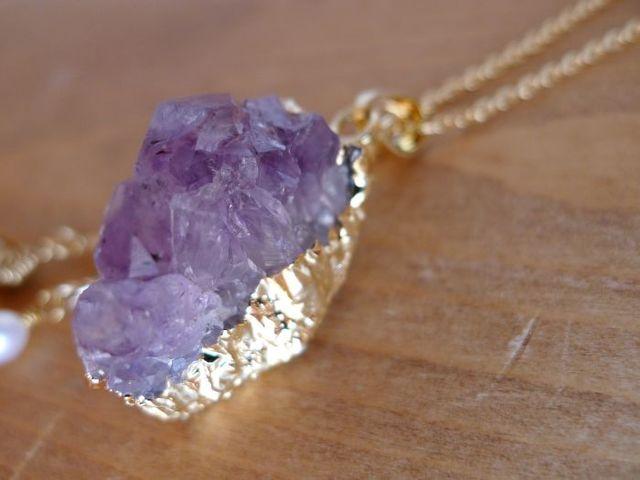 ドゥルージーと水晶原石のネックレス