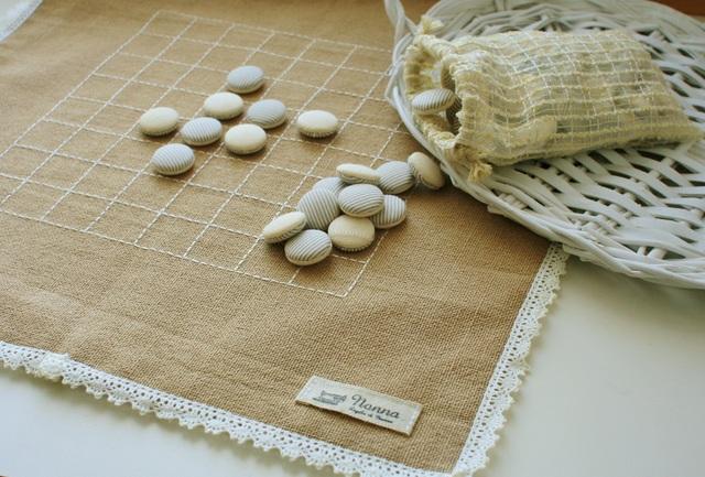 【再販】ナチュラルアンティークな布製リバーシ  大きめサイズ