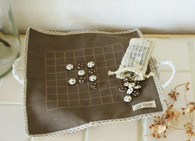 【再販】ナチュラルアンティークな布製リバーシ  小さいサイズ