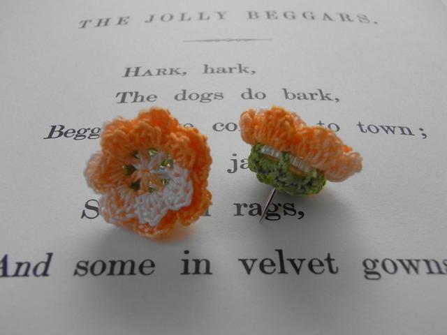 花画びょう(3個1組)オレンジ