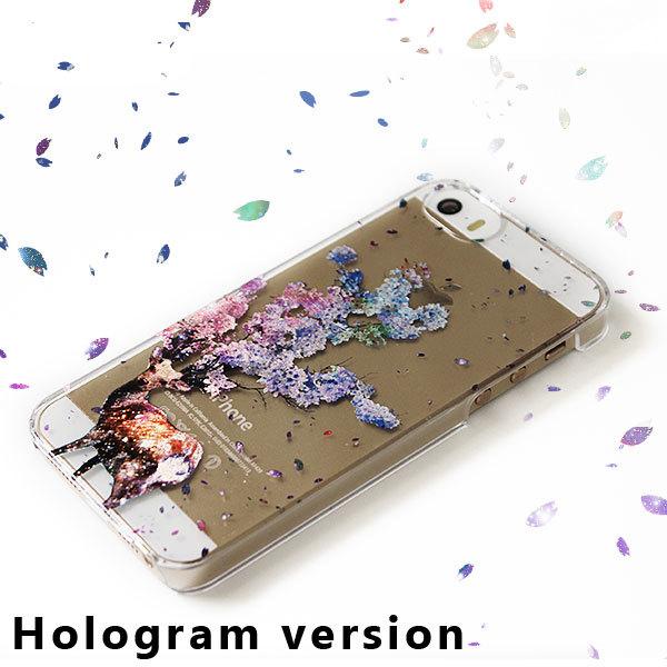 ホログラムver☆鹿桜プリントスマホケース:iPhone7★iPhoneケース各種選択可能♪スマホカバー