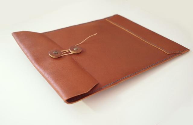 トスカーナ床革のマニラ封筒 A4ファイル対応 茶革翠糸