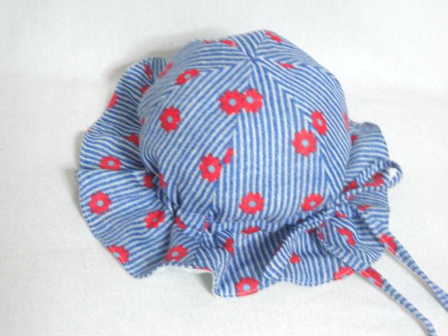 紺色ストライプ花柄ガーゼチューリップF52 セール