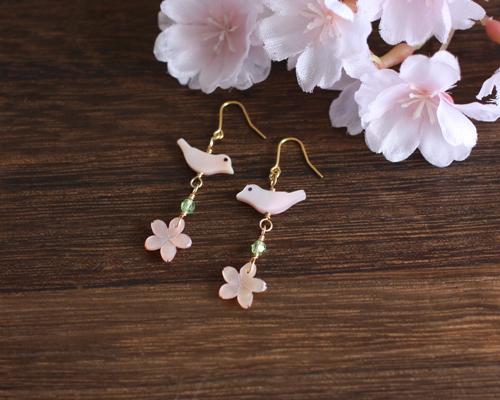 【さくら、咲く】 ピンクシェルの桜と小鳥とスワロのピアス/p424