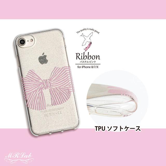 0a1f949323 iPhone ケース キラキラ リボン ピーチ ピンク iPhonexs / iPhonex / iPhone8 / iPhone7 /  iPhone6s / iPhone6 TPUソフトケース