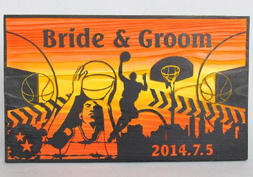 木彫りウェルカムボード「バスケットボール」