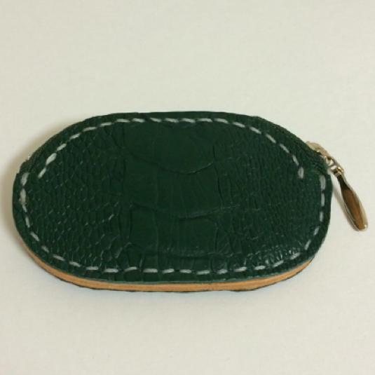 緑色のオーストレッグ革 コインケース