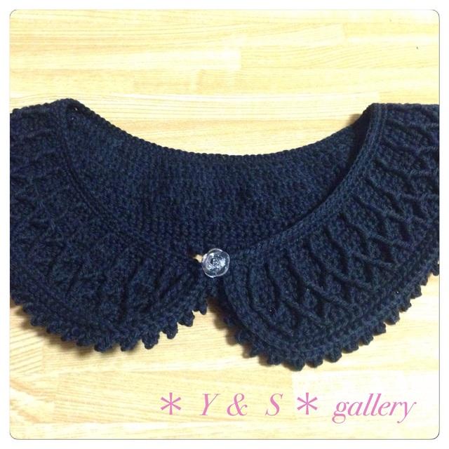 手編みのガーリーなつけ襟    黒
