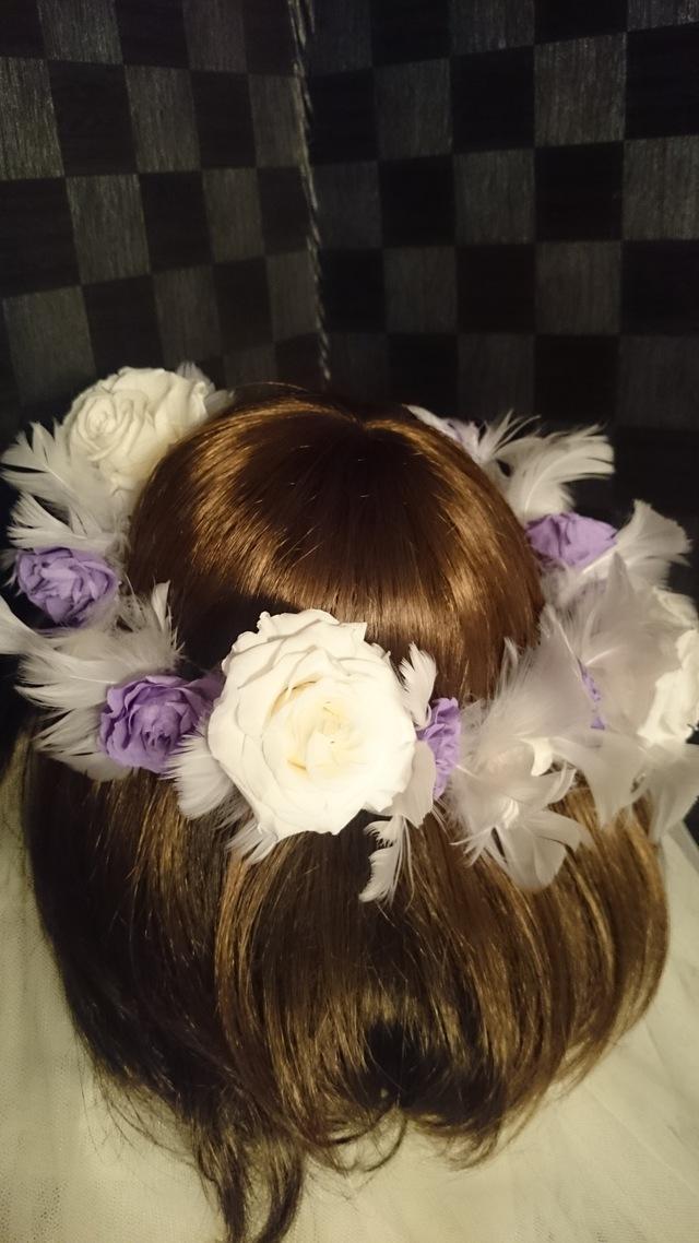 プリ*花かんむり ホワイト×ラベンダー