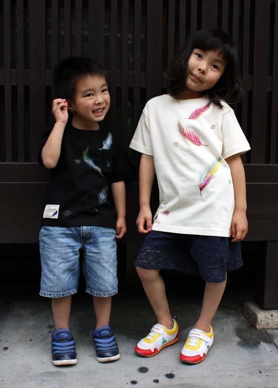 【JIKUU BY SLC】京友禅/手描き/キッズ/コットン半袖Tシャツ『舞羽』