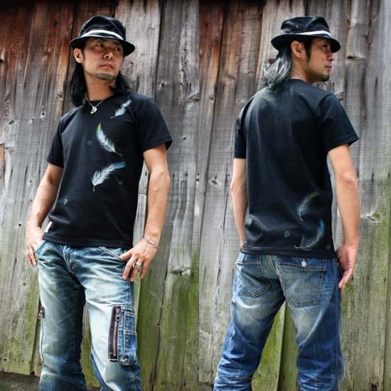 【JIKUU BY SLC】手描き友禅/メンズ/コットン半袖Tシャツ『舞羽』