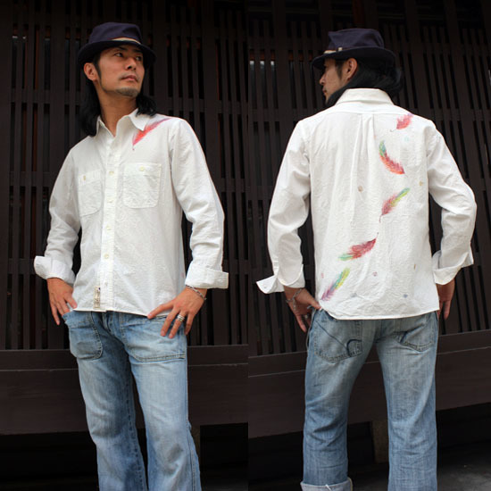 【JIKUU】 手描き友禅/メンズしわ加工長袖シャツ『舞羽』