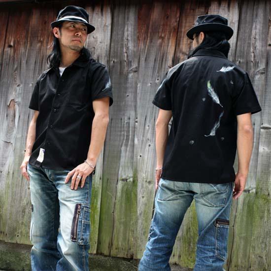 【JIKUU BY SLC】手描き友禅/メンズ/コットン半袖ワークシャツ『舞羽』