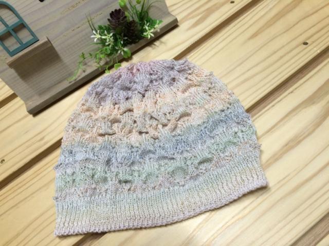 スモーキーパステルマーブル 透かし編み帽子