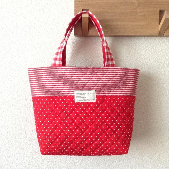 《在庫sale??》キルティングdeトートバッグ #043【Red Red Red】