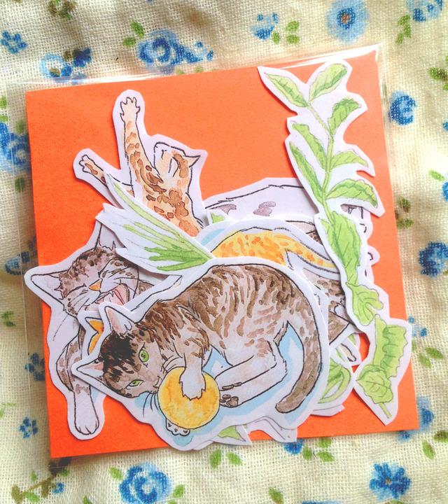 猫と葉っぱのシール16枚詰め合わせ
