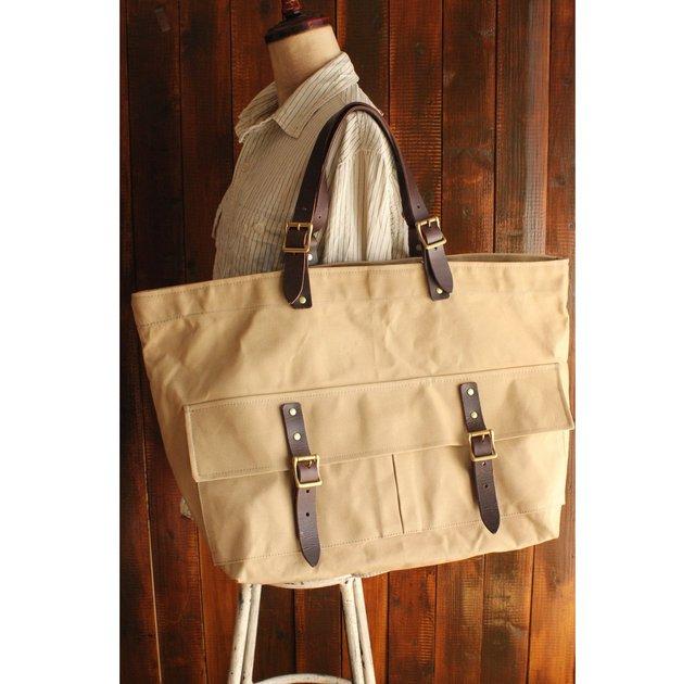 帆布トートバッグ 11号帆布(パラフィン加工)製 真鍮バックル 牛革持ち手 ペドラー