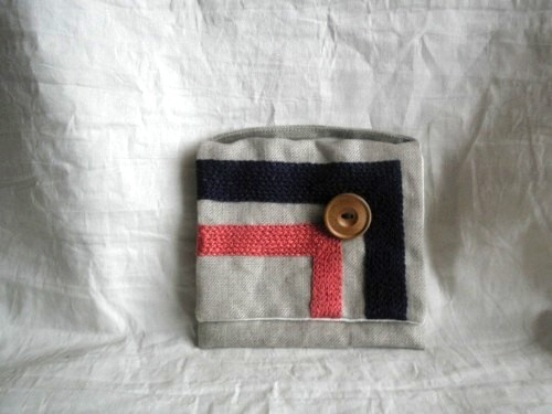 itoiro pouch ( pink & navy blue)