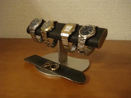 時計収納!ブラック4本掛けロングトレイウォッチディスプレイスタンド