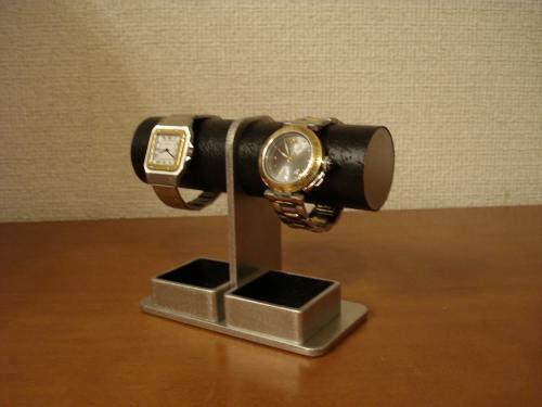 コンパクト2本掛けダブルトレイ腕時計スタンド